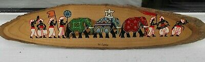 Vintage Wooden ornament, hand-painted procession of Sri-Lankans & elephants