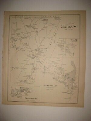 Antique 1892 Marlow Rindge Munsonville Alstead New Hampshire Map Detailed Fine