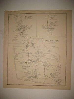 Antique 1892 Fitzwilliam Stoddard Mill Village New Hampshire Map Detailed Rare N
