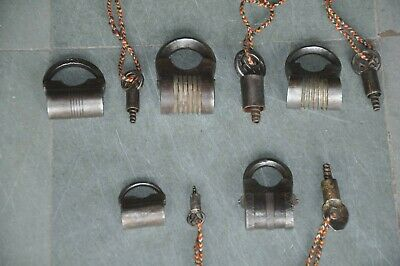 5 Pc Old Iron Handcrafted Fine Quality Screw System Padlock , Rich Patina