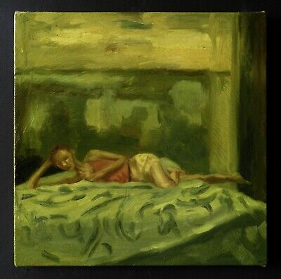 """14x14"""" Original Painting - Diary Series - Oil on Canvas - Reading"""