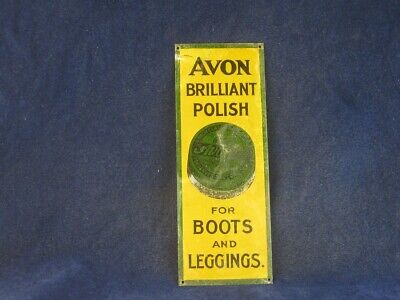 41761 Old Vintage Antique Enamel Tin Sign Shop Advert Avon Boot Polish can