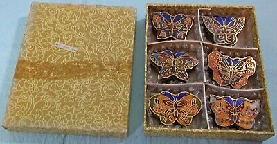 SET of 6 CHINESE CLOISONNE ENAMEL BUTTERFLY SNUFF PILL TRINKET BOXES w/BOX