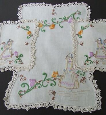Hand Embroidered Duchess Set - Little Dutch Girl with Tulips - Crocheted Edges