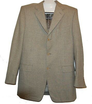 Canali Olive Beige Men's 3 Button Italy Wool Jacket Size L - XL Good Condition