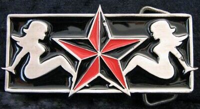Buckle with Pinup Girls & Texas Star,Lone Star ,Trucker, Belt Buckle