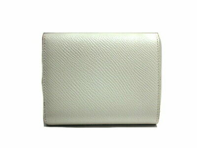 Sakae Celine / Small Trifold Tri-Fold Wallet White Compact Leather Second Hand