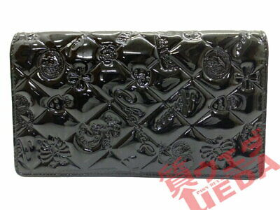 Heaven Chanel / Bi-Fold Long Wallet Symbol Charm Black Patent Leather Icon