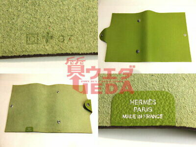 Sakae Hermes / Ulysse Pm Notebook Cover Yellow Green Leather Men Women Second