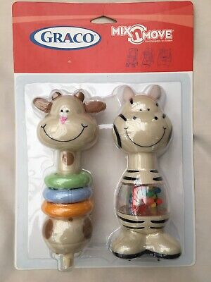 Baby Rattles Graco Mix n Move Giraffe And Zebra Baby Rattles Brand New In Pack