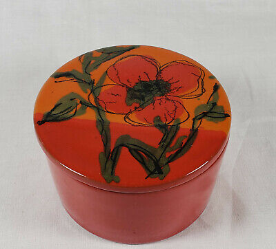 Raymor Italy MCM Tomato-Red Ceramic Covered Trinket Dish--original store sticker