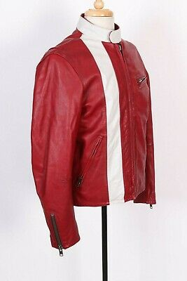 Vintage GAP Red White Leather CAFE Racer Motorcycle Coat Jacket Mens Size Small