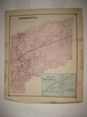 Antique 1874 Ashtabula Township Harbor County East Trumbull Ohio Handcolored Map