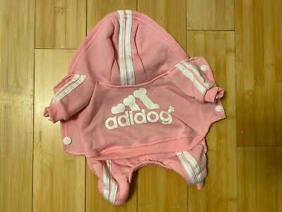 """Adidog """"Adidas Dog"""" Pink Hoodie Clothing Clothes For Puppy Or Small Dog"""