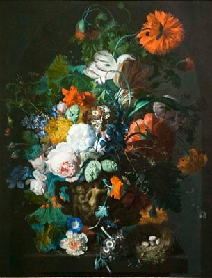 "oil painting  ""Flowers in a Sculpted Vase and a Bird's Nest on a Ledge  ""N11064"