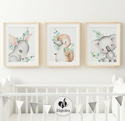 Baby, Australian Animal Nursery Wall Art Print Set of 3. Koala, Platypus, Bilby.