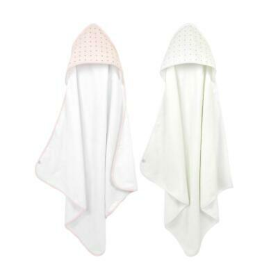 Just Born Sparkle 2pk Infant, Baby, and Toddler, Hooded Towel Set, Pink & White