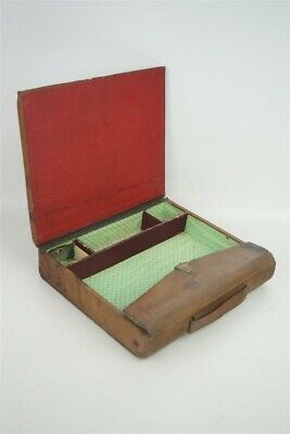 Antique 19th Century Small Portable Wooden Lap Desk Box w/ Lock Leather Covering