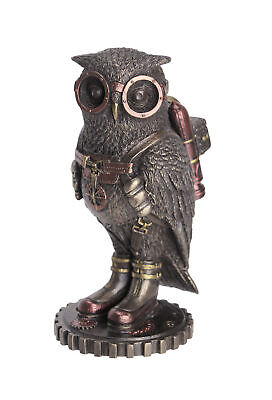 Cast Bronze Steampunk Fantasy Owl Hand Painted Jetpack Goggles Figurine Decor