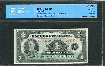 1935 $1 Banque du Canada (French) VF-30 CCCS certified. BC-2.