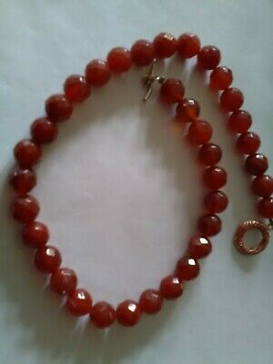Carnelian Facetted Beaded Necklace With Enamelled 925 Sterling Silver Fastener