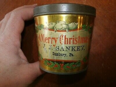 Vintage Antique Miniature Tin Metal Pail Bucket Can Christmas Litho Advertising