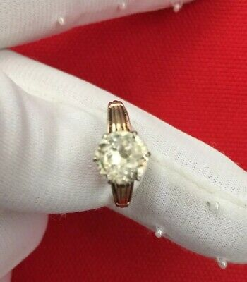 Antique Victorian Late 1800s 10K Gold Field Sterling Top Clear Stone Ring Sz 7
