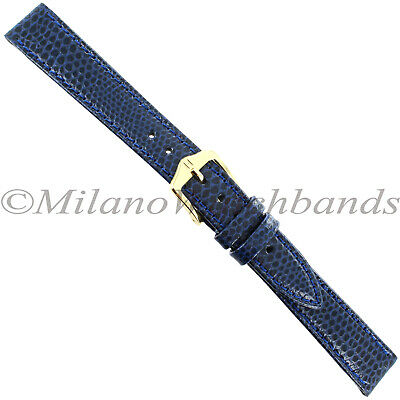 14mm Hirsch Navy Rainbow Stitched Lizard Grain Genuine Leather Ladies Band Reg