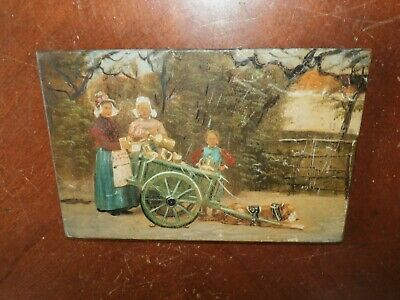 Antique Small Hand Painted Real Photograph on Wooden Panel Board