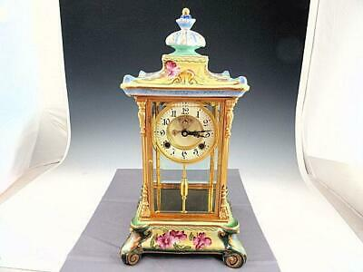 CRYSTAL REGULATOR MANTLE CLOCK Hand Painted Porcelain Housing.~ RUNNING`