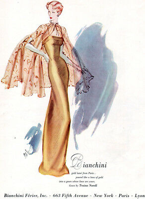 Bianchini Ferier Traina Norell Gold Lame Gown EVENING DRESS 1948 Print Ad