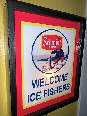 Schmidt Ice Fishing Beer Bar Tavern Man Cave Lighted Advertising Sign