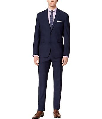 Vince Camuto Mens Plaid Two Button Formal Suit navy 40/Unfinished