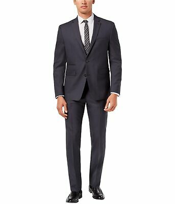 Vince Camuto Mens Solid Two Button Formal Suit charcoal 36/Unfinished
