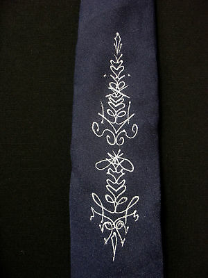 Vintage 1950'S-1960'S Hand Painted Poly Navy Blue Tie