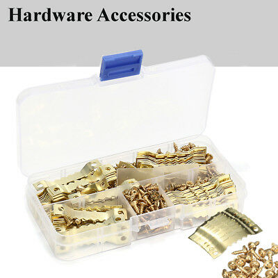 100 Sets Picture Saw Tooth Hanger 45mm Brassed + Screws Canvas Frame Hook +