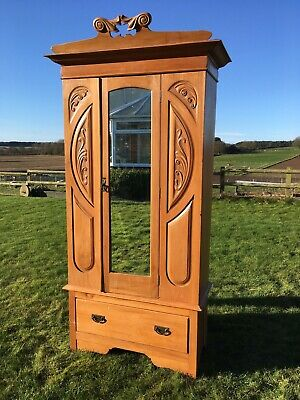 Antique Vintage Decorative Stripped Waxed Pine Wardrobe Mirrored Door And Drawer