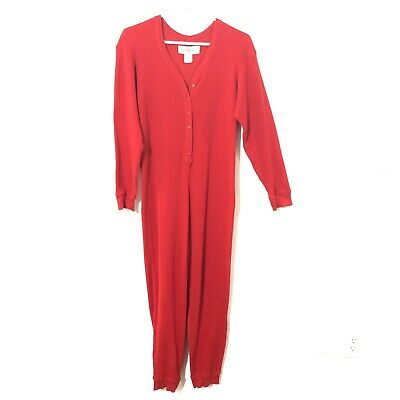 VTG Victorias Secret COUNTRY Small Red Thermal UNION SUIT Pajamas Long Johns