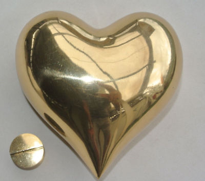 """HEART hollow with screw thread on the back solid brass statue container heavy 4"""""""