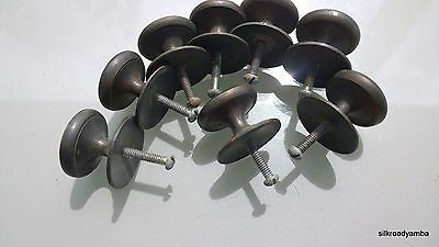 8 small KNOBS pulls handles solid aged brass door old style drops kitchens 35mm
