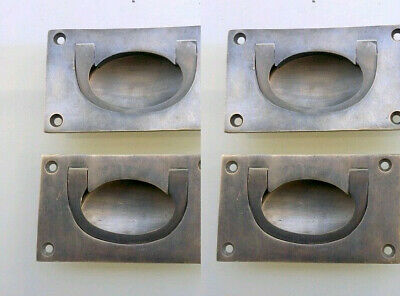 4 heavy RECESSED pulls handles BOX antique solid brass vintage old replace draw