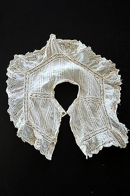 Antique Vintage Edwardian Period French White Cotton Lace Collar 16' X 13""