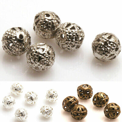 DIY 200X Silver/Gold/Copper/Metal Hollow Flower Ball 4/6/8mm Spacer Beads
