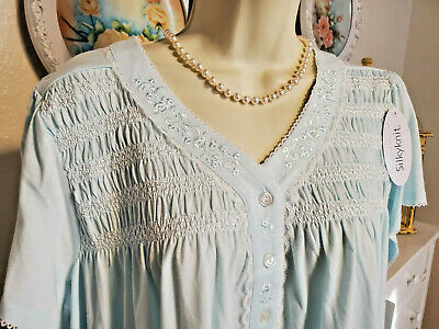 NWT 1X Miss Elaine Nightgown Gown NEW Cotton Blend Baby Blue Short Embroidery