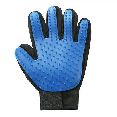 Pet Grooming Glove Left Hand For Cats Dogs Deshedding Massage Brush Blue