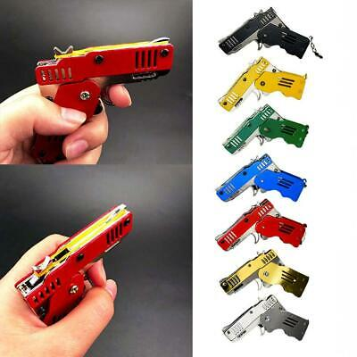 Rubber Band Gun Mini Metal Folding 6-Shot with Keychain and Rubber Band 100+ US