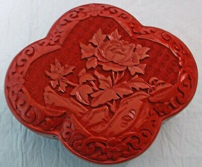Chinese Carved Red Cinnabar Scalloped Floral Box Unusual Cloverleaf Shape