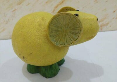 Vintage Wood Statue Figurine Mouse Wooden Yellow Hand Carved Lemon Art Paint