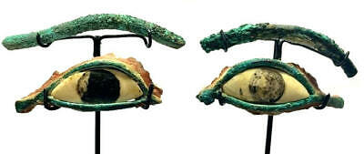 Pair of Ancient Egyptian Bronze eyes and eyebrows