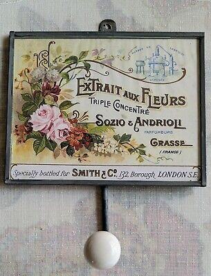 Shabby Chic Decorative Wall Hook Towel Coat Hanger French Country Perfume label